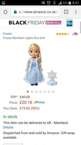 Frozen Northern Lights Elsa Doll £20.18 on Amazon