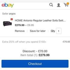 2 Seater Leather Sofa for £216.94 Delivered @ Argos eBay plus 10% eBay TCB