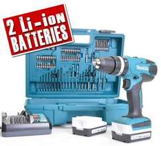 Makita HP347 14.4v hammer drill driver x2 batteries, charger, case + acc set @ ITS £64.99 delivered