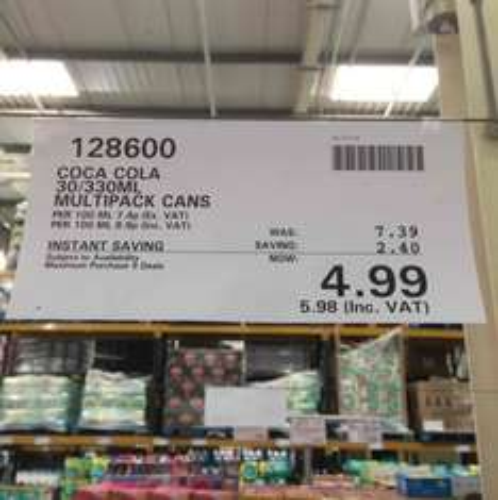 30 Cans of Coca Cola for £5.98 @ Costco Trafford