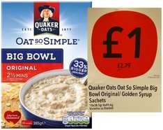 Quaker Oats So Simple Big Bowl Original / Golden Syrup Sachets for £1 instead of £2.79 @ Co-op