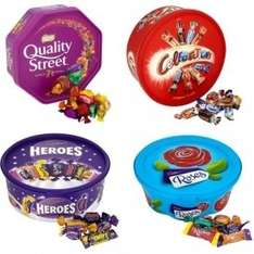 Sweet Tubs inc Quality Street, Heroes, Celebrations,, Roses, Skittles,Haribo, Rowntrees Tubs £4.00 @ Tesco from 21st
