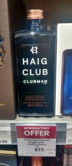 Haig Club Clubman Single Grain Whisky £15 @ Waitrose