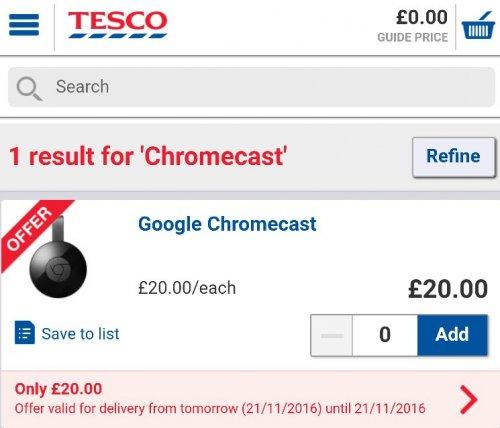 Google Chromecast £20 @ Tesco Groceries