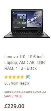 Lenovo 110, 15.6-inch Laptop, AMD A6, 4GB RAM, 1TB - Black £229 @ Tesco direct