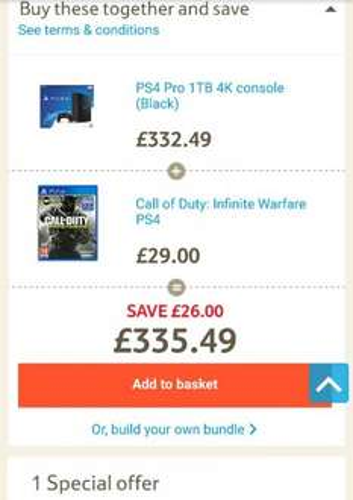 PS4 Pro 1TB 4K Console with Call of Duty: Infinite Warfare £335.49 @ Tesco Direct (Free C+C)