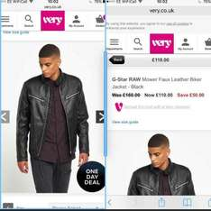 g star leather jacket £110 @ Very