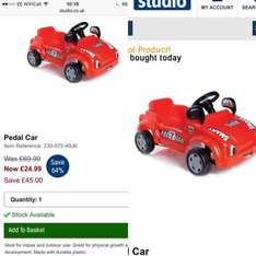 pedal car at Studio.co.uk for £24.99 plus £4.99 delivery - £29.98