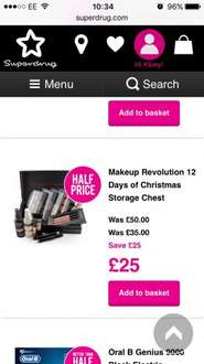 Make Up revolution 12 days of Christmas was £50 now £25 @ Superdrug