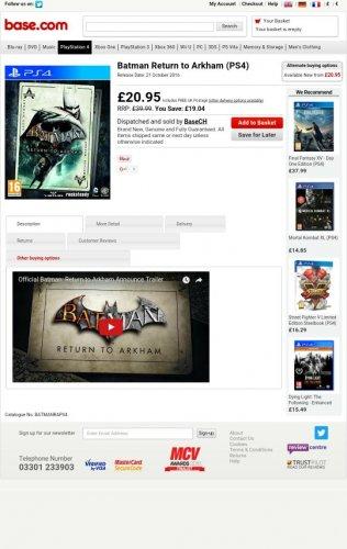 Batman Return to Arkham (PS4) £20.95 @ BASE