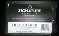 Free Burger from McDonalds