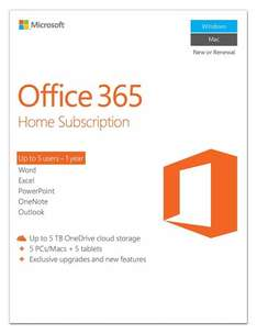 Microsoft Office 365 Home - 5 Users - 1 Year Subscription (PC/Mac) [Download] £39.97 @ Amazon