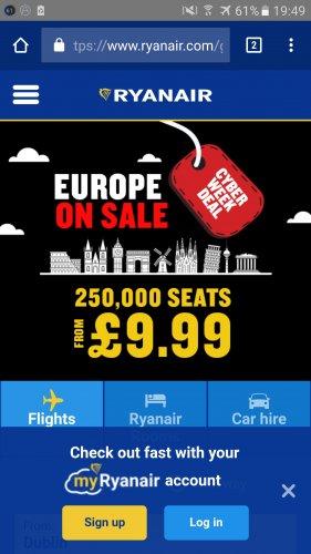 Cyber Week Ryanair Europe from £9.99