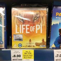 Life of Pi 4K Ultra HD Blu-Ray £8.00 or 2 for £10 Tesco In-Store