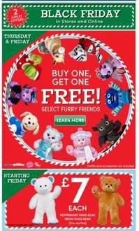 black thurs/fri at build a bear buy one get one free on selected bears plus £7 bear back for friday