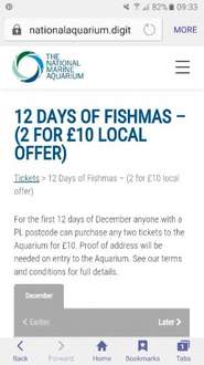 12 Days of Fishmas (2 for £10 Local offer) @ The National Marine Aquarium Plymouth