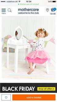Kids wooden dressing table £32 @ mothercare with 20% off Birthday Club Voucher (via email)