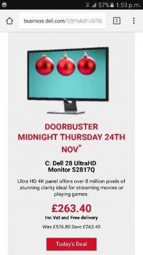 Dell Black Friday Deal - 28 UltraHD Monitor S2817Q £263.40 @ Dell