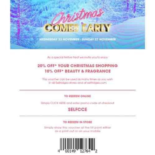 selfridges voucher code 23rd to the 27th of November