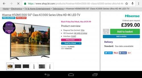"Hisense H50M3300 50"" Class K3300 Series Ultra HD 4K LED TV £399 .00 @ BT.Com"