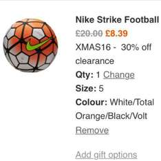 Nike strike football (size 5 ball) £8.39 delivered at Nike.com + 16.5% quidco + extra £10 cashback if you opt in (use code xmas16 on web)