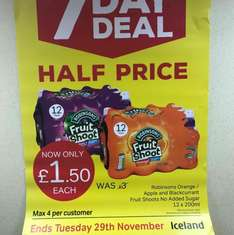 Iceland 7 day Robinsons fruit shoot 12 pack £1.50 instore