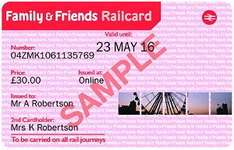 Heads up from Friday 25/11 - One Year Family & Friends Railcard or 16-25 Railcard for £20 (saving £10)