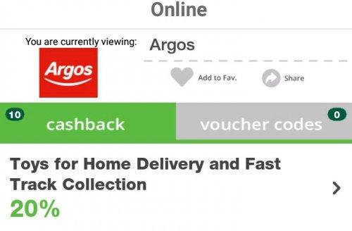 20% back on toys at argos, disney, & more. top cashback