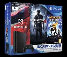 PS4 Slim 1TB Console + Uncharted 4 + Driveclub + Ratchet & Clank - £249.85 @ Shopto