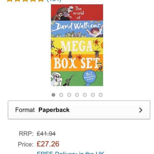 the world of david Walliams Mega Box set Paperback £27.26 Amazon