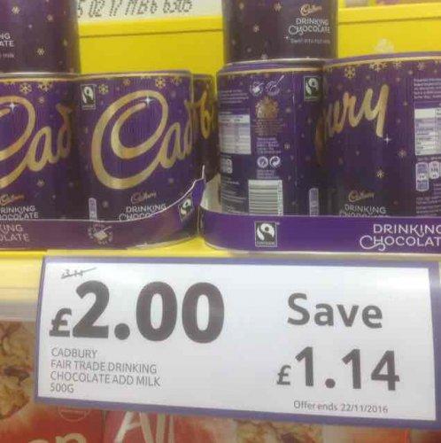 Cadbury Fair Trade Drinking Chocolate Add Milk 500G £2.00 instore Tesco