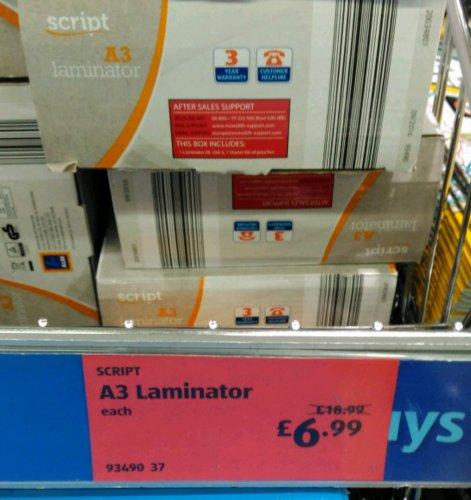 A3 Laminator @ Aldi only £6.99 instore
