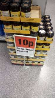 Sliced beetroot, 10p per jar at Co-op, dye your pee on the cheap!