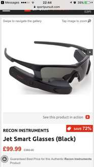Recon Jet Smart Sunglasses. 72% off. RRP 360 down to £99.99 @ Sport Pursuit
