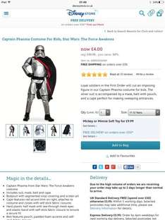 Star Wars captain phasma  costume £4 + £3.95 delivery the Disney store