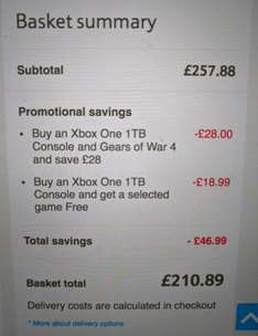 Xbox One 1TB + Gears of War 4 + Rise of the Tomb Raider £210.89 @ Tesco