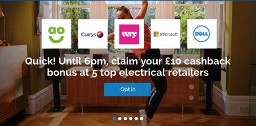 £10 Quidco cashback bonus - AO.com, Very, Currys, Dell or Microsoft £50