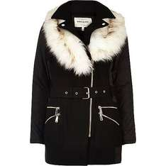 Black faux fur collar padded coat reduced from £90 to £60 at River Island today only