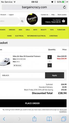 Ladies Nike air max only £38.94 inc p&p using code WBLACK bargaincrazy