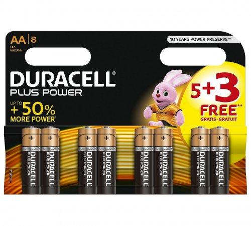 Duracell Plus Power Alkaline AA Batteries -Pack of 5+3 Free 2.99 @ argos