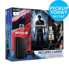 PS4 Slim 1TB Console Driveclub, Uncharted 4 & The Last of Us Bundle  £224.99  Argos/eBay
