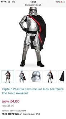 Star Wars Costume £4  / £7.95 delivered @ Disney Store