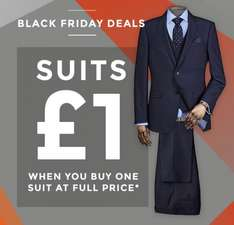 £1 Suits from Burton when you buy one suit at full price