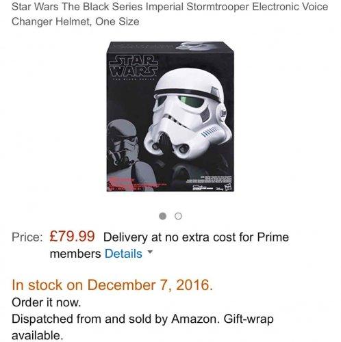 Star Wars Black series storm trooper Helmet at Amazon for £79.99