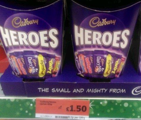Cadbury's Heroes 185G box £1.50 at Sainsburys