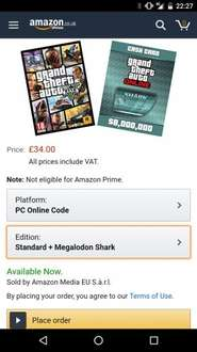 Grand Theft Auto V PC + Megalodon Shark bundle on Amazon for £34