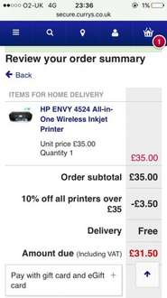 HP ENVY 4524 All-in-One Wireless Inkjet Printer NOW EVEN CHEAPER!! Only £31.50 delivered with Black Friday discount code PRINTER10 at Currys