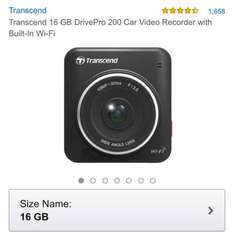 Transcend 16 GB DrivePro 200 Car Video Recorder with Built-In Wi-Fi £69 (Prime member exclusive) @ Amazon Prime Exclusive