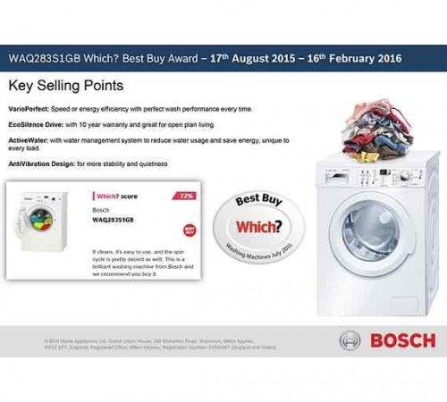 Argos 239/6248 Bosch Classix WAQ283S1GB 8KG 1400 Washing Machine - White. £254.99