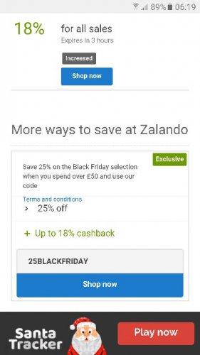 Zalando 25% off ( 25BLACKFRIDAY ) plus a further 18% cash back via Quidco!!!